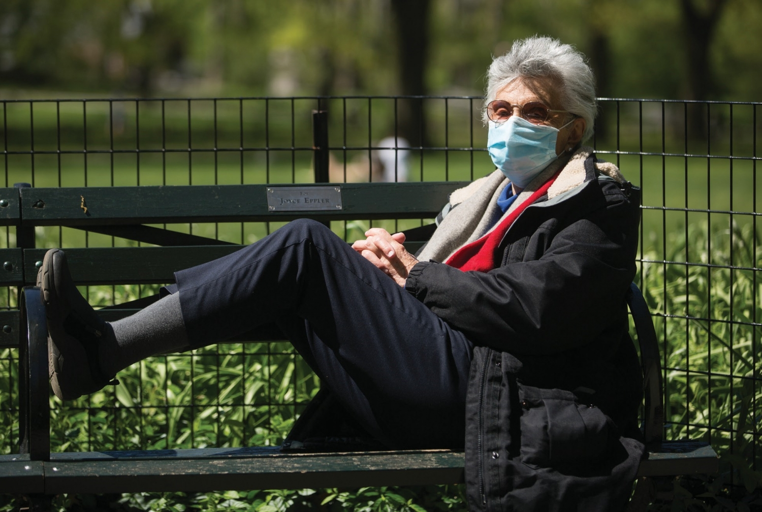 Barbara Milbauer enjoying Central Park while wearing a face mask