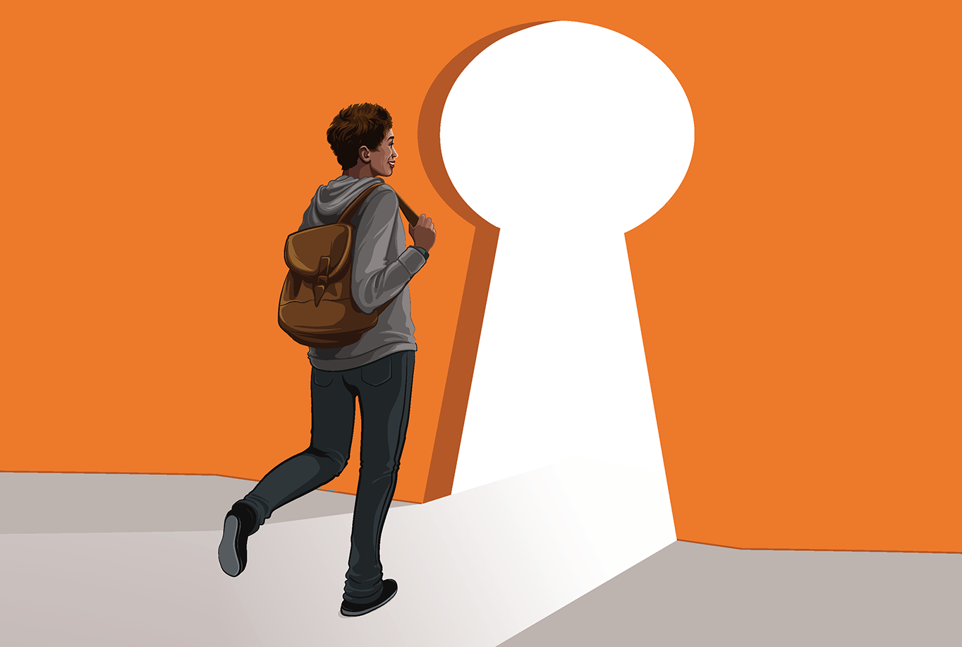 illustration of person with backpack walking through keyhole in wall.