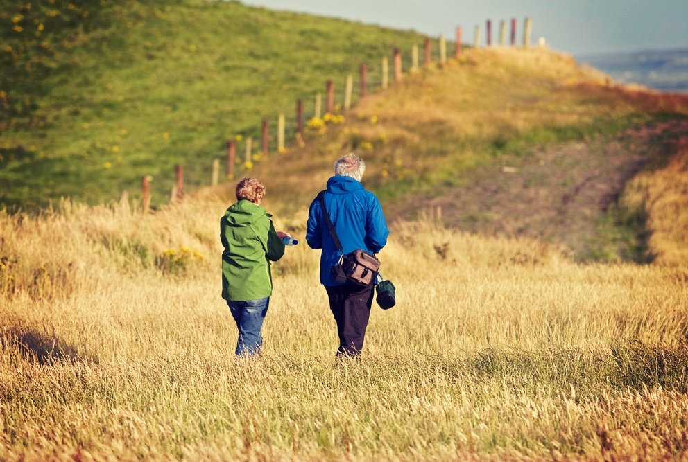 Older adults taking a walk through a field
